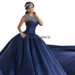 Navy Blue Gold Quinceanera Dress Australia - Gorgeous Navy Blue Prom Dresses Jewel Neck Cap Sleeve Puffy quinceanera dresses Beading Keyhole Backless Formal Evening Gown robes de soirée
