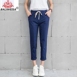Cotton Linen Trousers Women Australia - BALIWEISA New Women Casual Harajuku Pants Spring Autumn Big Size Long Trousers Solid Cotton Linen Pants Ankle Length Haren