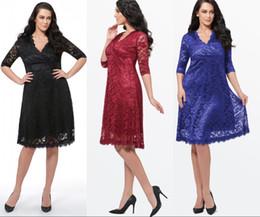$enCountryForm.capitalKeyWord NZ - Lace V Neck Half Sleeve Evening Dresses Tea Length Back Zipper Formal Dresses Plus Size Mother Of The Bride Special Occasion Dresses
