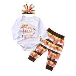 $enCountryForm.capitalKeyWord NZ - INS new Thanksgiving Day baby girls suits first thankiving turkey newborn outfits baby girl clothes rompers+pants+headband 3pcs set A7552