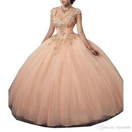 $enCountryForm.capitalKeyWord Australia - Luxurious Peach Crystals Ball Gown Quinceanera Dresses 2019 Sweetheart Straps Tulle Vestidos De 15 Anos Sparkling Sweet 16 Dress