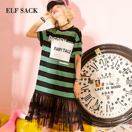 Striped Bottom Dress Australia - ELF SACK Summer Dress Women Casual Cotton Beach Short Straight Lace Dress Tassel Female Striped O-Neck Streetwear Dresses Bottom T5190603