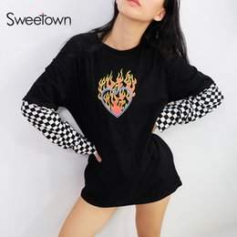 $enCountryForm.capitalKeyWord NZ - Sweetown Oversized Cotton Long Sleeve T Shirt Checkerboard Patchwork Graphic Tees Women Autumn 2018 Plus Size Harajuku Tshirt S403