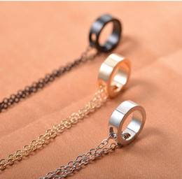 Ring Slides Australia - Popular and Fashion Japanese and Korean Simple Metal Ring Geometric Lovers Pendant Necklace for Women and Men N5175