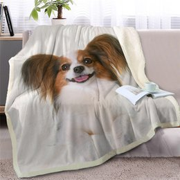 $enCountryForm.capitalKeyWord Australia - Dog Throw Blanket On Bed Sofa 3d Animal Sherpa Fleece Blanket White Pet Bedspreads Fur Printed Thin Quilt Drop Ship