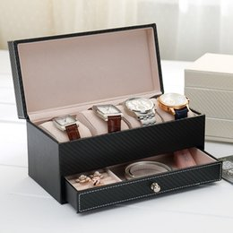 Beads Storage Boxes Australia - European drawer type bead bracelet storage box carbon fiber leather high-grade watch box watch display jewelry ZP01111437