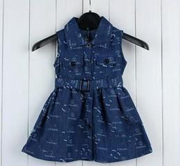 Girls ruffled tutu skirts online shopping - 2018 High quality European Style Children s Garment Pure Cotton Girl Skirt Printing Cowboy Cloth Belt Kids Sleeveless Dress