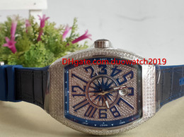 $enCountryForm.capitalKeyWord Australia - selling Top quality luxury men 'S Sports Watches COLLECTION V 45 SC DT YACHTING Silver Diamond Case Blue Dial Automatic Mens Watch Blu
