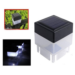 portable yard fence 2019 - 2x2 Solar Fence Post Cap Light Square Solar Powered Pillar Light For Wrought Iron Fencing Front Yard Backyards Gate Land