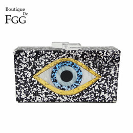 box handbags NZ - Boutique De Fgg Devil Eyes Glitter Women Acrylic Box Clutch Evening Bags Ladies Party Prom Chain Shoulder Bag Cocktail Handbags Y190627