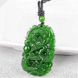 Pendant Jade Australia - atural hand carved Certificate jade dragon necklace Men's women's gift pendant with box wholesale Pendants Cheap Penda...