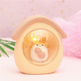 $enCountryForm.capitalKeyWord NZ - Creative Mini Animals LED Night Light Hamster Starry Home Decor Resin House Shape Cell Button Switch Kids Table Lamps