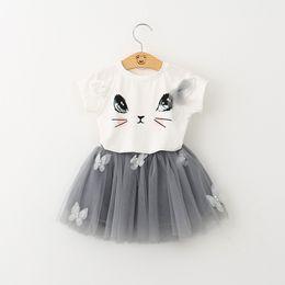 $enCountryForm.capitalKeyWord Australia - Girls summer suits T-shirt tutu skirt kids cartoon cat prints bow short sleeve bubble skirt floral decoration two-pieces