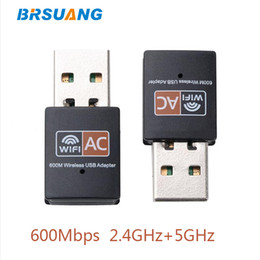 $enCountryForm.capitalKeyWord Australia - 50pcs lot BRSUANG 600Mbps Wireless USB WiFi Adapter Dual Band 2.4GHz+5GHz Wireless Network Cards For Computer PC Macbook Desktop