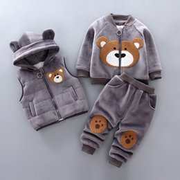 cartoon tracksuits NZ - Boys Girls Winter Clothes Children Clothing Sets Kids Sport Suit Cartoon Bear Clothes Girls Clothing Set Kids Tracksuit 3pc S200114