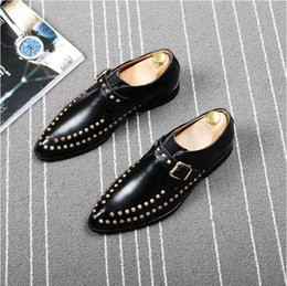 American Leather Shoes Australia - British buckle pointed leather shoes male European and American trend hair stylist rivet tide shoes personality fashion men's shoes