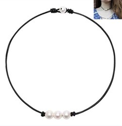 $enCountryForm.capitalKeyWord Australia - Fashion Women 100% Natural Freshwater Pearl Genuine Leather Bib Choker Necklace Jewelry Gifts