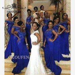$enCountryForm.capitalKeyWord Australia - Royal Blue Mermaid Bridesmaid Dresses 2019 Wholesale Price Lace Beads Off Shoulder Long Dress For Wedding Party