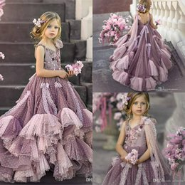 Wholesale blue tulle lace wedding dress for sale - Group buy Cute Flower Girl Dresses Lace For Wed D Floral Applique V Neck Tiered Skirts Girls Pageant Dress Floor Length Kids Birthday Party