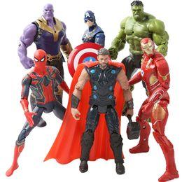 Red Hulk Figures Australia - 7pcs Super Hero 17cm The Avenger Toys Spider Man Iron Man Marvel Thor Captain America Wolverine Hulk PVC Action Figure Toy Doll
