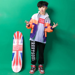 Discount boys casual wear t shirts Kid Hip Hop Clothing Track Jacket Top Coat T Shirt Running Casual Pants for Girl Boy Dance Costume Wear Ballroom Dancing