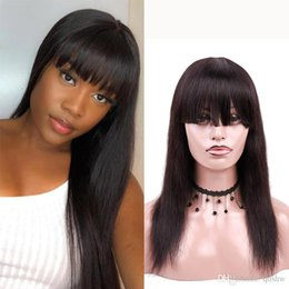 $enCountryForm.capitalKeyWord UK - Cheap Full Lace Human Hair Wigs Bangs For Black Women Real Glueless Straight Pre Plucked Transparent HD Lace Front Wig With Bang