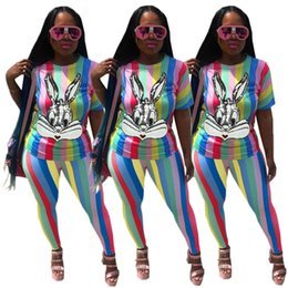 slimming swimming suits 2019 - Women Summer Sports Suit Sequins T-shirt Leggings TWO Piece Set Striped Tee Top Pants Sportswear Colorful Outfits Tracks