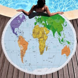 $enCountryForm.capitalKeyWord Australia - Beach towel blanket bath towel A towels wrapped after swimming World Map Earth Microfiber Print Round with Tassel 150cm Thickening