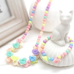$enCountryForm.capitalKeyWord Australia - 2pcs Cute Resin Flower Simulated Pearl Strand Necklace Bracelet Children Kids jewelry Sets For Girl-DLMCGJS004F