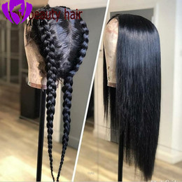 dark red black hair color 2020 - Fashion Black color Synthetic Lace Front Wigs Hand Tied Silky Straight Heat Resistant Hair Glueless Cap For American Bla