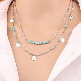 multilayer chains NZ - Vintage Multilayer Pendant Necklace Women Beads Copper Chain Sequins Multilayer Choker Necklaces Jewelry