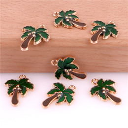 Leather making accessories online shopping - 50pcs Coconut Tree mm Alloy Enamel Charm Jewelry Making Drop Oil Pendant DIY Earring Bracelet Necklace Fashion Accessory