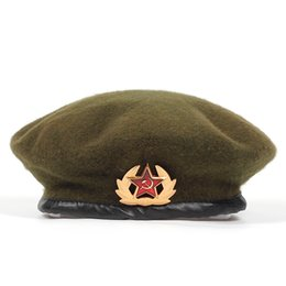 golf emblems Australia - new High Quality Wool% Russian Army Berets for Men Women national emblem beret Hat Adult adjustable Hat Caps Bone Garros