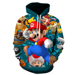 Wholesale man cosplay white for sale – halloween 2019 super Mario bros apparel hoodie sports fashion pop hoodie Cosplay D