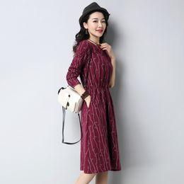 Geometric Design Dresses NZ - 2019 summer new design classic traditional national vintage womens dress v neck a line mid calf street wear slim casual outwear dress