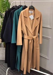 Wholesale 18 autumn and winter new most beautiful ladies loewe tie bathrobe double faced cashmere coat classic elegant and soft and delicate cashmere