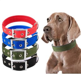 wholesale dog collar buckles Canada - Double Thick Nylon Dog Collar with Metal Buckle Adjustable Durable Puppy Medium Large Dogs Padded Collar Red Blue Black Green