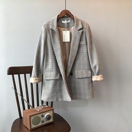 Koreans females suit online shopping - Fashion Women Blazer Korean Version of The Plaid Suit Female Loose Casual Suit Long Sleeve Women Clothes Bleiser Feminino