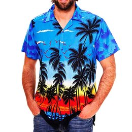 Wholesale clothing hawaii online – design Mens Coconut Print Summer Shirt Hawaii Styles Beach Holidays Clothes Designer Quick Drying Homme Casual Males Tshirts