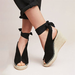 $enCountryForm.capitalKeyWord Australia - MoneRffi Suede Leather Women Sandals Shoes Weave Heels Peep Toe High Heels Platform Pumps Lace Up Bandage Girl Sandals New