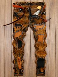 Legging Destroyed Australia - Men Pants Distress Patch Embellished Straight Leg Jeans Destroy Wash Vintage Long Trousers Ripped Pants Orange