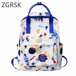 $enCountryForm.capitalKeyWord NZ - Printing Canvas Women Embroidery Casual Backpack Flower School Bags Shoulder Bag Travel Rucksack Bolsas Mochilas Femininas