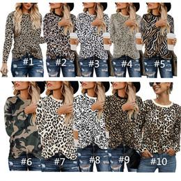 Wholesale custom t shirt design printing online – design Leopard Print Women T Shirt Autumn Pullover Long Sleeve O neck T shirt Fashion Design Sweatshirt Tops Casual Hoodies Girls Top Clothing