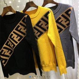 2019 inizio autunno lettera doppia nuove donne ferroviaria europea F jacquard maglione colore di colpo la camicia versatile femmina della maglietta a maniche corte in Offerta