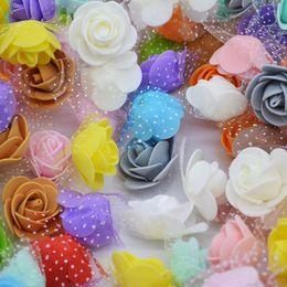 Foam Rose Heads White Australia - 3.5cm 50Pcs lot Mini PE Foam Rose Flower Head Artificial Flowers Handmade DIY Wreath Wedding Use For Party Home Decoration 8Z C18112601