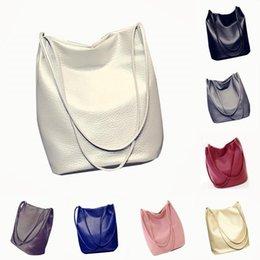 Wholesale Ladies Handbags Ostrich Australia - VSEN Pop Women Leather Handbags Bucket Shoulder Bags Lady Cross Body Bags Large Capacity Lady Shopping Bag Beige