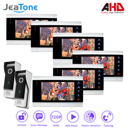 Camera Detection System Australia - JeaTone 720P AHD 4 Wired 7'' Video Door Phone Intercom Security System Voice message Motion Detection MP4 Player 1 Door Bell to 6 Monitors