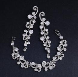 White Silver Bracelet Australia - Bracelet Earrings Set 3 Colors Crystal Wedding Bridal Jewelry Sets For Women Silver Black Rhinestone African