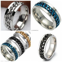 $enCountryForm.capitalKeyWord Australia - wholesale 40Pcs Spin chain assorted stainless steel rings fashion jewelry summer ring for man women party ring