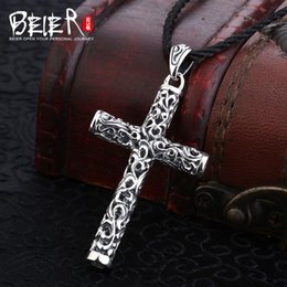 $enCountryForm.capitalKeyWord Australia - Beier new store 100% 925 thai silver sterling cross pendant necklace fashion jewelry free give rope A2473